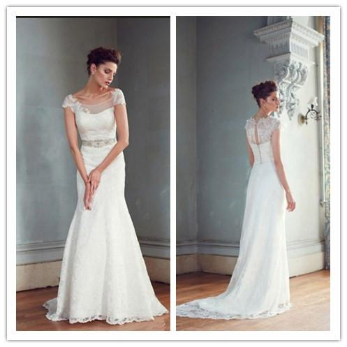 Sexy Lace Sheath Wedding Dresses Short Sleeve Sweep Train See Through Open Back Bridal Married Gown Low Mermaid Style