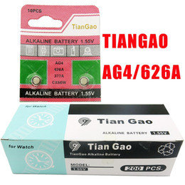 venda por atacado Atacado-100pcs / lot Tiangao AG4 LR626 1.5V Coin bateria para Watch etc. / botão baterias de célula de alta qualidade a Battery407 pequeno