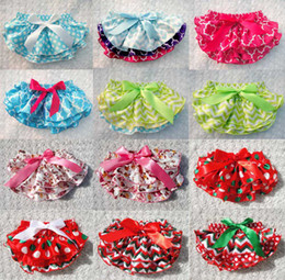 Wholesale Wholesale Sale Bloomers - Baby polka bloomers short pants printed satin PP pants kid bowknot bloomers ruffle underpants for baby 94 styles hot sale