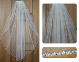 Wholesale Wedding Veil Tier Beaded - 1 Tier high-end white ivory bridal wedding veil Swarovski crystal bead edge veil