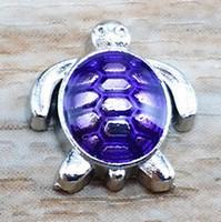 rote glasherzen großhandel-5colors Emaille Sea Turtle schwimmenden Charme 100pcs lila / grün / rot / blau / Fuchsia für Glass Living Memory Herz Medaillon