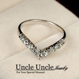 Wholesale Exquisite Stone - 18K White Gold Plated Austrian Rhinestones Classic V Design Exquisite Lady Ring Wholesale