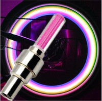 Wholesale gas bicycles wholesale - LED Flashing Light LED Flash Type Light LED Car Light Car Bicycle Motorcycle Fire LED Wheel Light Lamp 4Color Gas Nozzle Valve Lights
