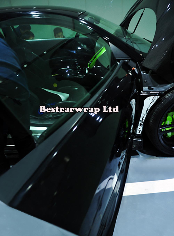 3 lager Glans Black Vinyl Wrap Bil wrap med luftfri helkropp och tak täcker folie 1,52x30m / rull 5x98ft