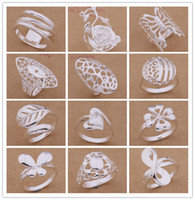 Wholesale Pretty Tops - Mixed Order 24pcs lot 925 silver plated fashion ring 6-9 # party style pretty cute Christmas gift Top Quality Free Shipping