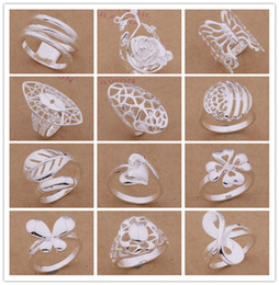 Mixed Order 24pcs lot 925 silver plated fashion ring 6-9 # party style pretty cute Christmas gift Top Quality Free Shipping