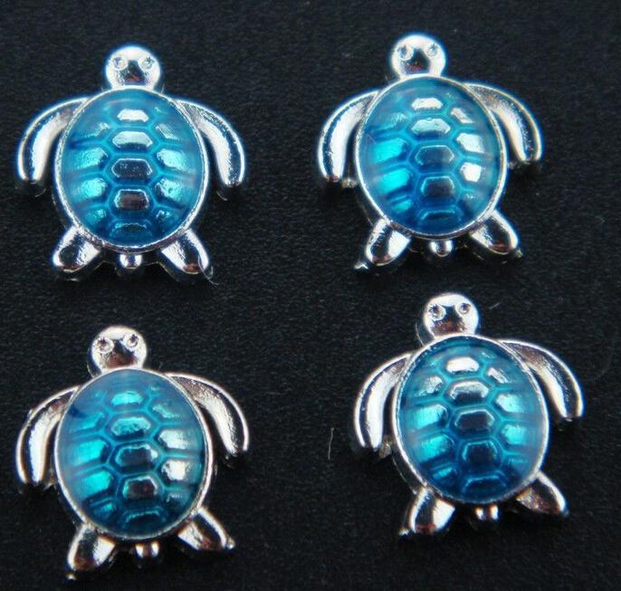 émail charme de la tortue de mer flottant violet / vert / rouge / bleu / fuchsia pour verre médaillon de coeur vivant mémoire
