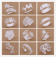 Wholesale Sterling Silver Set Mixed Order - Mixed Orders Top quality 925 sterling silver rings fashion style Christmas party to send his girlfriend   wife gifts free shipping 24pcs lot