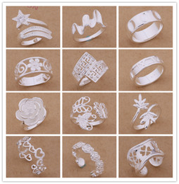 Wholesale wife quality - Mixed Orders Top quality 925 sterling silver rings fashion style Christmas party to send his girlfriend   wife gifts free shipping 24pcs lot