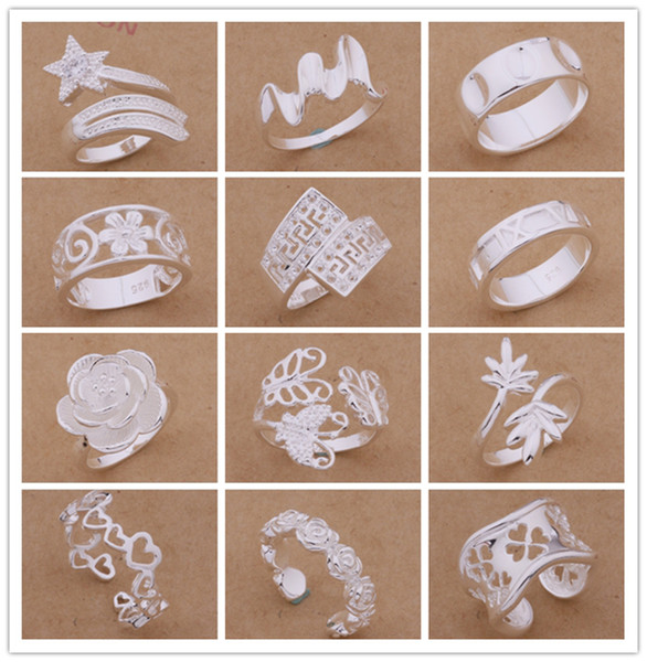 Mixed Orders Top quality 925 sterling silver rings fashion style Christmas party to send his girlfriend / wife gifts free shipping 24pcs/lot