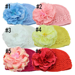 Wholesale Hand Crochet Baby Flower - Free Shipping Winter Warm Cute Baby Girl Infant Toddler Hand Crochet Beanie knitted Hat + Daisy Flower Clip Cap Accessories