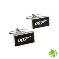 Wholesale Flag Business - High quality Movie Spy 007 Flag Men Brand cufflinks Sleeve Nail Business French Suit Shirt Black Enamel cuff link Wedding Party gift