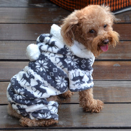 Wholesale Leopard Jumpsuit Costume - Small Pet Dog Winter Warm Fleece Leopard Print Dog Coat Chrismas Snowflake Dog Clothes Hoodie Jumpsuit Soft Cozy Clothes Yorkie Chihuahua