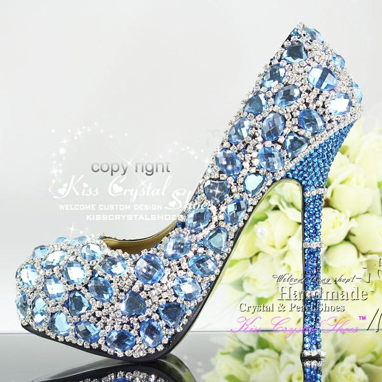 Sky Blue Wedding Pumps Shoes And Silver Crystals Rhinestone ...