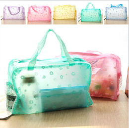 Wholesale Colourful Bags - Colourful PVC Transpant waterproof cosmetic bag wash bath bags poch makeup storage organizer pocket gift for women girls factory prices