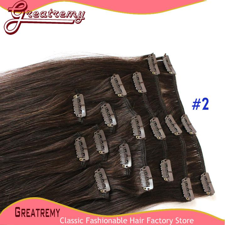 Greatremy Brasilian Clip In Human Hair Extensions Staight # 1 # 2 # 4 120g / set Remy Hair Weft 20