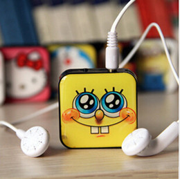 Wholesale New Design Mini Mp3 - New arrive square Cartoon design MINI MP3 Player With Micro TF SD Card Slot With Cable USB+Earphone Free shipping