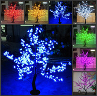Wholesale Cherry Shiny - Shiny LED Cherry Blossom Christmas Tree Lighting Waterproof Garden Landscape Decoration Lamp For Wedding Party Christmas Supplies