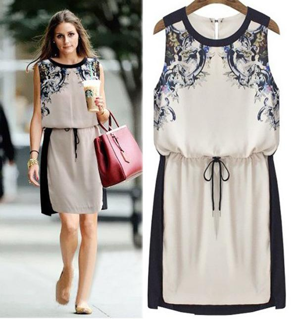 new fashion women clothing loose vest printed dress sexy western