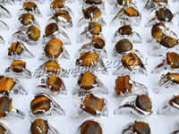 Wholesale Gemstone Tiger Eye - lots 30Pcs assorted Natural Tiger Eye Gemstone Silver P Rings Jewelry