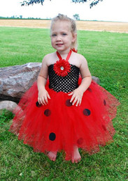 Wholesale Toddler Girls Turtlenecks - Halloween dress Ladybug Baby Girl Tutu Dress Party Dresses for Kids Girls Toddler Clothes Free Shipping