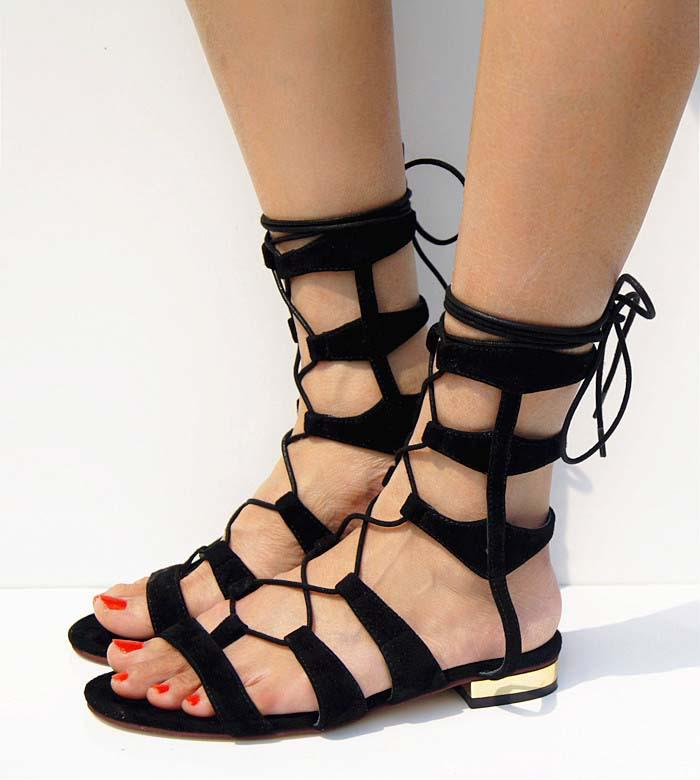 31670d78be5cf 2014 New Suede Women s Low Heel Wedges Sandals Cutout Metal Flat Gladiator  Sandal Lacing Female Shoe Black Ladies Sandals Girls Sandals From Amiliya