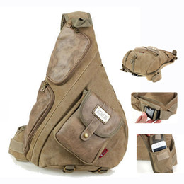 Wholesale Vintage Casual Canvas Backpack - Aerlis large canvas with leather chest bags for men Vintage casual male sling backpack Black Army green Khaki 6218 Free shipping