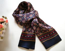 Canada Mode Nouveau Style Vintage 2015 Longue Soie de Mulberry Double Couche Soie Satin Hommes Imprimer Foulard En Soie Foulard cheap vintage style scarves Offre