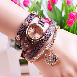 Wholesale Heart Rhinestone Crystal Buckle - Newest Fashion Ladies Sweet Heart 9 Colors Crystal Diamond Rhinestone Watches Women Dress Quartz Analog Wristwatch Dropshipping