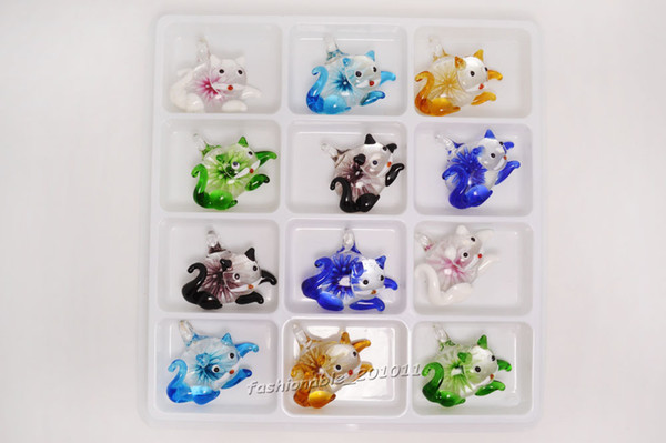 Lots Murano Glass Handwork Pendant Necklace flower In 3D Animal Cat Wholesale Retail FREE #pdt0163
