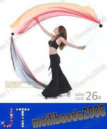 Wholesale Belly Poi - free shipping Belly Dance Veil Poi 1 SET = 2 Veils + 2 Poi Chains Multicolour MYY9412