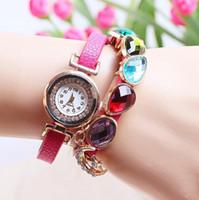 ingrosso bellissimi braccialetti-le donne della vigilanza del braccialetto di cuoio dell'involucro del tessuto del bello dell'involucro delle donne della stella della luna del rhinestone di bella estate delle donne osservano