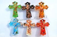 Wholesale Lampwork Cross Pendants - Cross Multi-Color Lampwork Murano Glass Gold foil Pendants Necklaces Wholesale Retail FREE #pdt13
