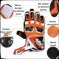 Wholesale Ktm Leather - 2015 HOT SALE KTM carbon fiber cross-country motorcycle gloves racing gloves cycling gloves Leather protect glove orange color size M L XL