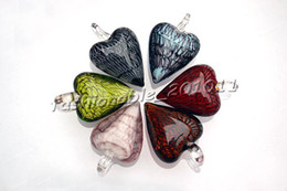 Wholesale Lampwork Glass Animal Necklace - Heart Multi-Color Lampwork Murano Glass Pendants Necklaces Wholesale Retail FREE #pdt20