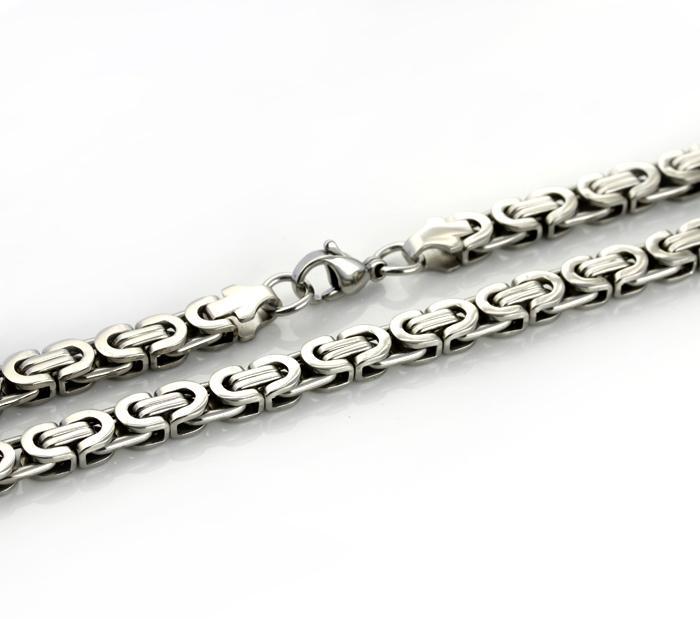 24 بوصة 8MM الفولاذ المقاوم للصدأ الفضة البيزنطية مربع سلسلة قلادة مجوهرات رجالية - 18