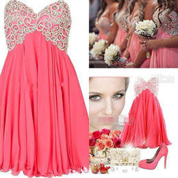 Wholesale Coral Beads Free Shipping - Free Shipping 2016 Trendy Short Bridesmaid Dresses A Line Strapless Sweetheart Embroidered Beads Junior Bridesmaid Dresses