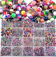 Wholesale piercing bulk - Brand New Bulk lots 210pcs Body Piercing Eyebrow Jewellery Belly Tongue Bar Ring Free Shipping[BA01-ba21 M*210]