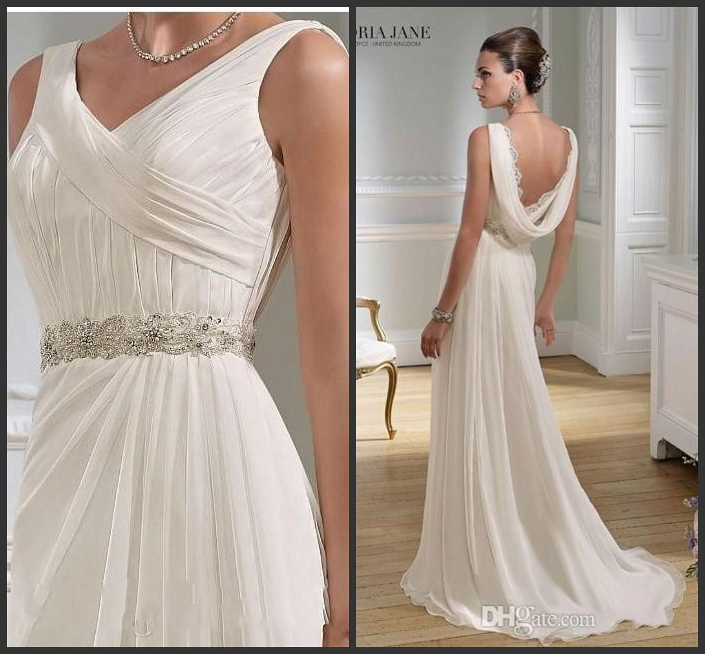 Cowl Neck Bridal Gown: Amazing Sheath Design V Neck Cowl Back Wedding Gowns