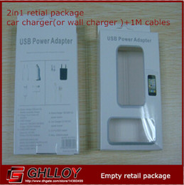 New Style 2 In 1 Wall Chareger (o caricabatteria per auto) + Cables Empty Box Retail Package for Iphone da