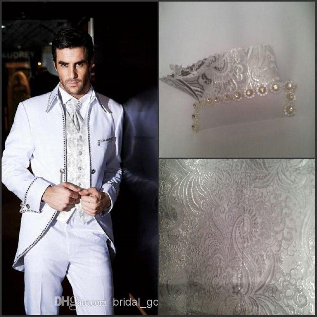 Top Beaded White New Wedding Tuxedos Mens Tailored Suit Blazer ...