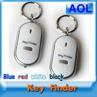 Wholesale Key Finder Remote Control Locator - LED Torch Lost Key Finder Locator Find Keychain Sound Remote Control Whistle Avoid the loss of key Blue red white black
