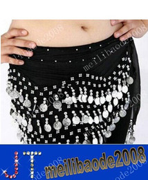 Wholesale Belly Hip Skirts - 12 Colors 3 Rows 128 Coins Belly Egypt Dance Hip Skirt Scarf Wrap Belt Costume MYY1896