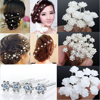 Wholesale rhinestone bridal hair pins - NEW 40Pcs Lots Wedding Bridal Crystal Faux Pearl Flower Hairpins Hair Pins Bridesmaid Hair Clips A+ [JH03001-5]