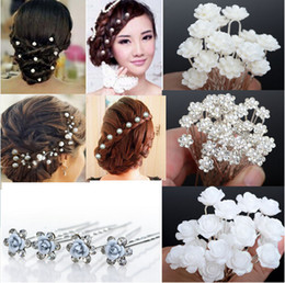 Wholesale Crystal Flowers Hair Pin - NEW 40Pcs Lots Wedding Bridal Crystal Faux Pearl Flower Hairpins Hair Pins Bridesmaid Hair Clips A+ [JH03001-5]