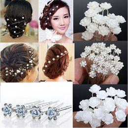 Wholesale Rhinestone Bridal Hair Pins - NEW 40Pcs Lots Wedding Bridal Crystal Faux Pearl Flower Hairpins Hair Pins Bridesmaid Hair Clips A+ [JH03001-5]