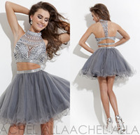 Wholesale Cheap Cocktail Pink Dresses Short - Hot Short Silver Cocktail Dresses Rachel Allan High Neck Beaded Crystal Two Pieces Grey Tulle A-line Cheap Homecoming Dresses DL1312775