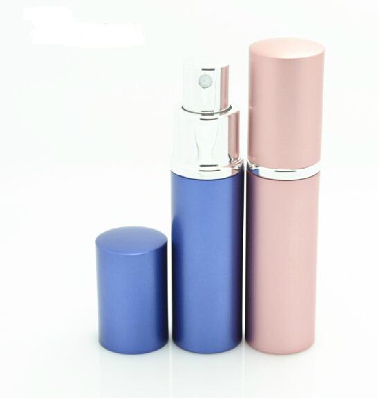 Favores do partido de Casamento Recarregável Vazio Atomizadores Frascos de Perfume de Viagem Spray de Maquiagem Aftershave Colorido de Metal 5 ML DHL Frete Grátis