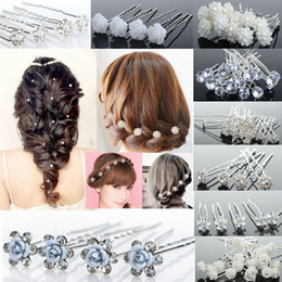 Wholesale Pin Rhinestone Clip - 120PCS Wholesale Mix Fashion Wedding Bridal Bridesmaid Flower Pearl Crystal Hair Pins Clips Women jewelry Free [JH03001-JH03005 M*5]