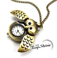Casual owl pocket watch necklace - Bronze Cute Open Close Wing Owl Pendant Necklace Chain Quartz Pocket Watch Gift GR3